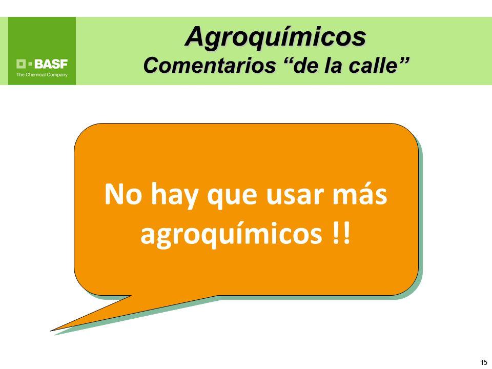 15 Agroquímicos Comentarios de la calle No hay que usar más agroquímicos !!