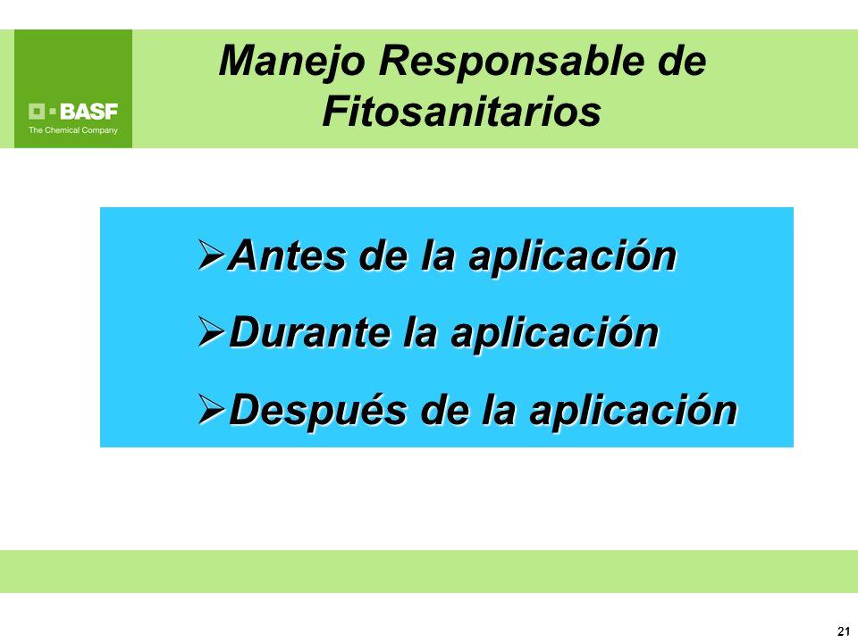 21 Antes de la aplicación Antes de la aplicación Durante la aplicación Durante la aplicación Después de la aplicación Después de la aplicación Manejo