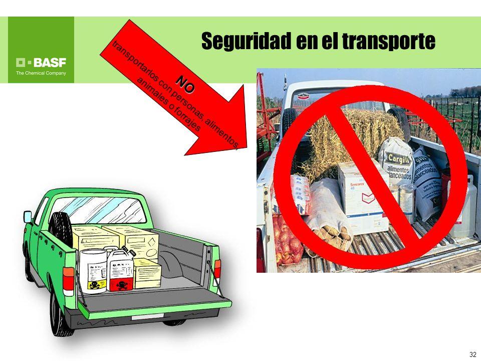 32 NO transportarlos con personas, alimentos, animales o forrajes Seguridad en el transporte