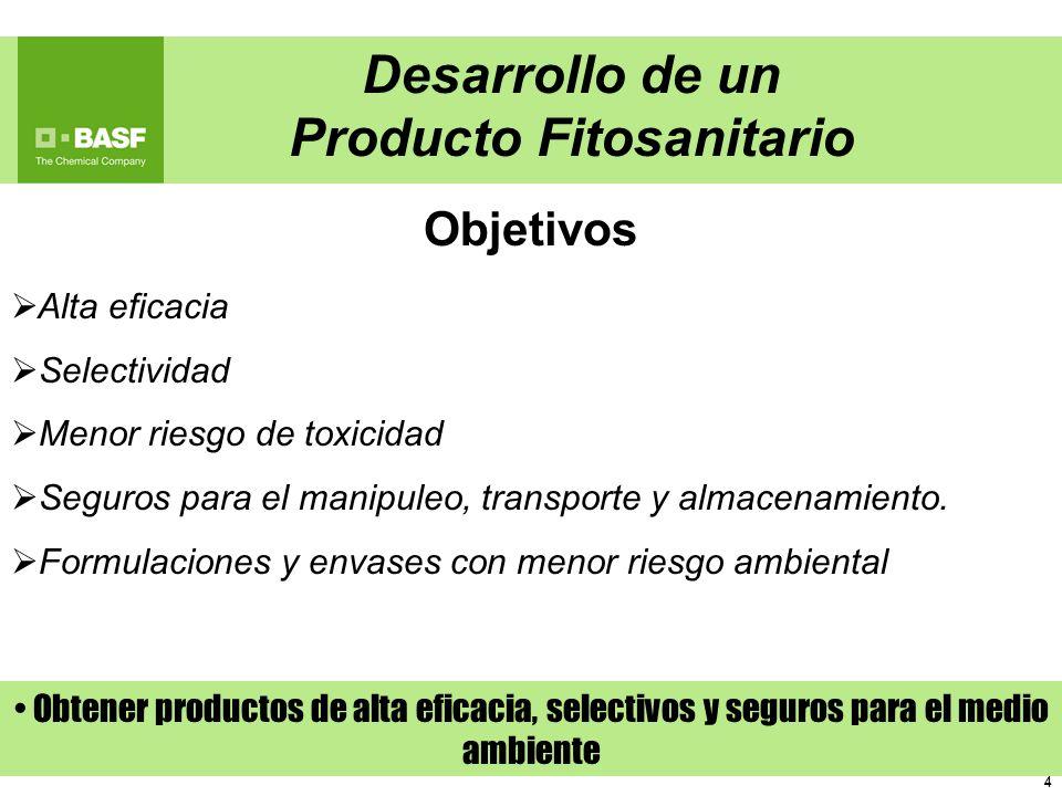 4 4 Alta eficacia Selectividad Menor riesgo de toxicidad Seguros para el manipuleo, transporte y almacenamiento. Formulaciones y envases con menor rie