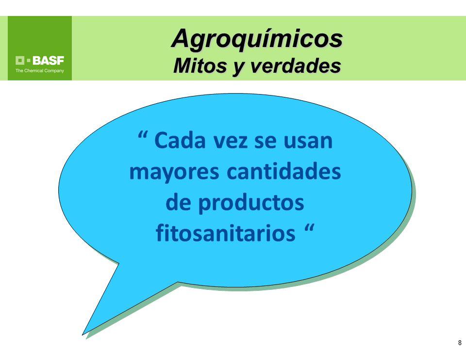 8 8 Agroquímicos Mitos y verdades Cada vez se usan mayores cantidades de productos fitosanitarios