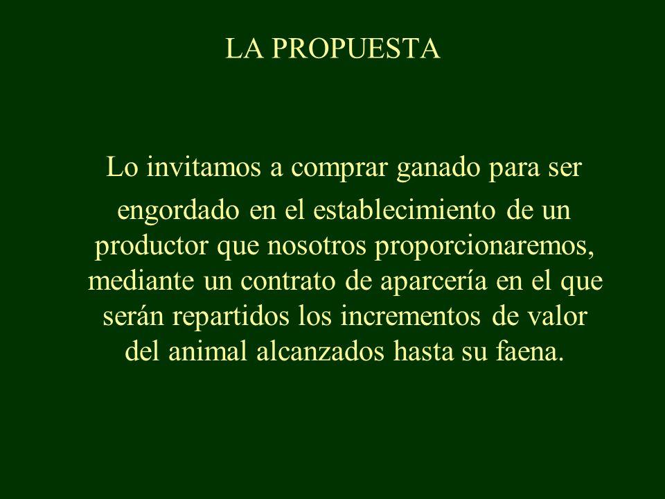 Lo invitamos a comprar ganado para ser engordado en el establecimiento de un productor que nosotros proporcionaremos, mediante un contrato de aparcería en el que serán repartidos los incrementos de valor del animal alcanzados hasta su faena.