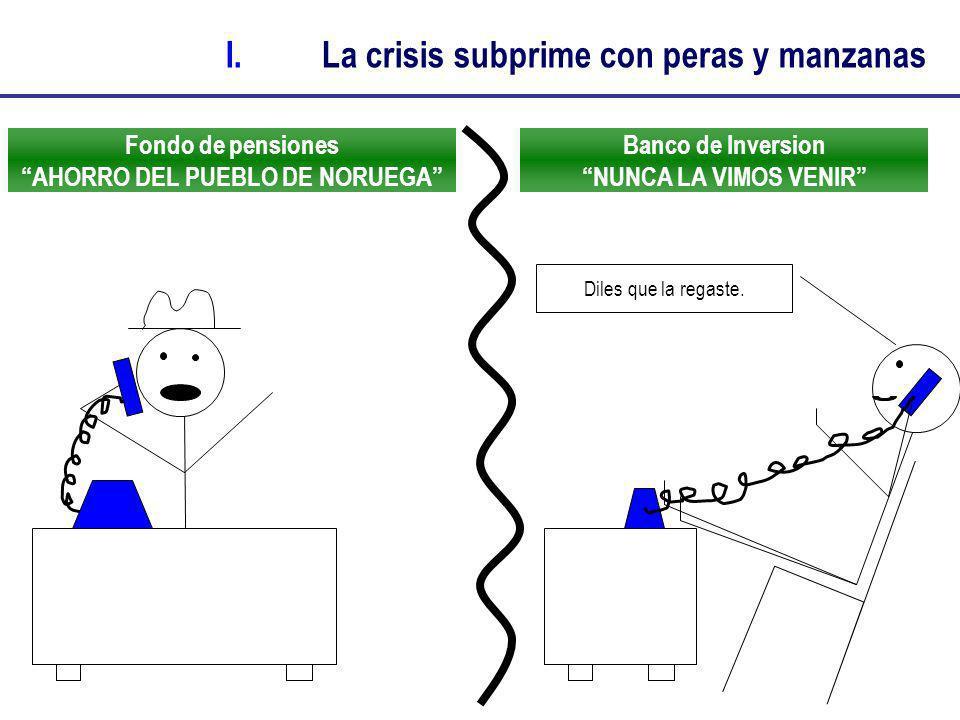 Fondo de pensiones AHORRO DEL PUEBLO DE NORUEGA I.La crisis subprime con peras y manzanas Banco de Inversion NUNCA LA VIMOS VENIR Diles que la regaste