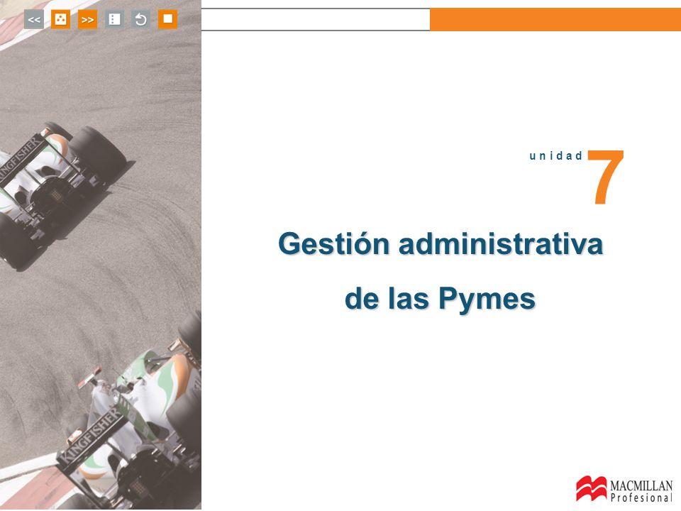 u n i d a d 7 Gestión administrativa de las Pymes u n i d a d 7