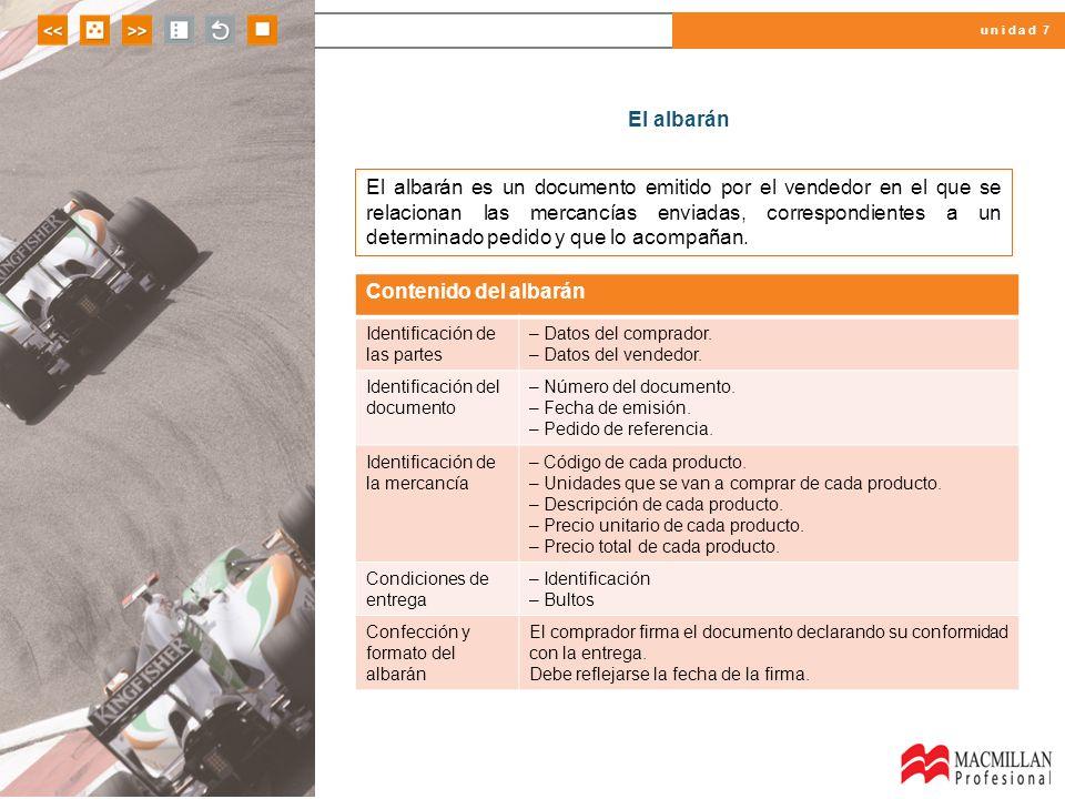u n i d a d 7 El albarán El albarán es un documento emitido por el vendedor en el que se relacionan las mercancías enviadas, correspondientes a un det