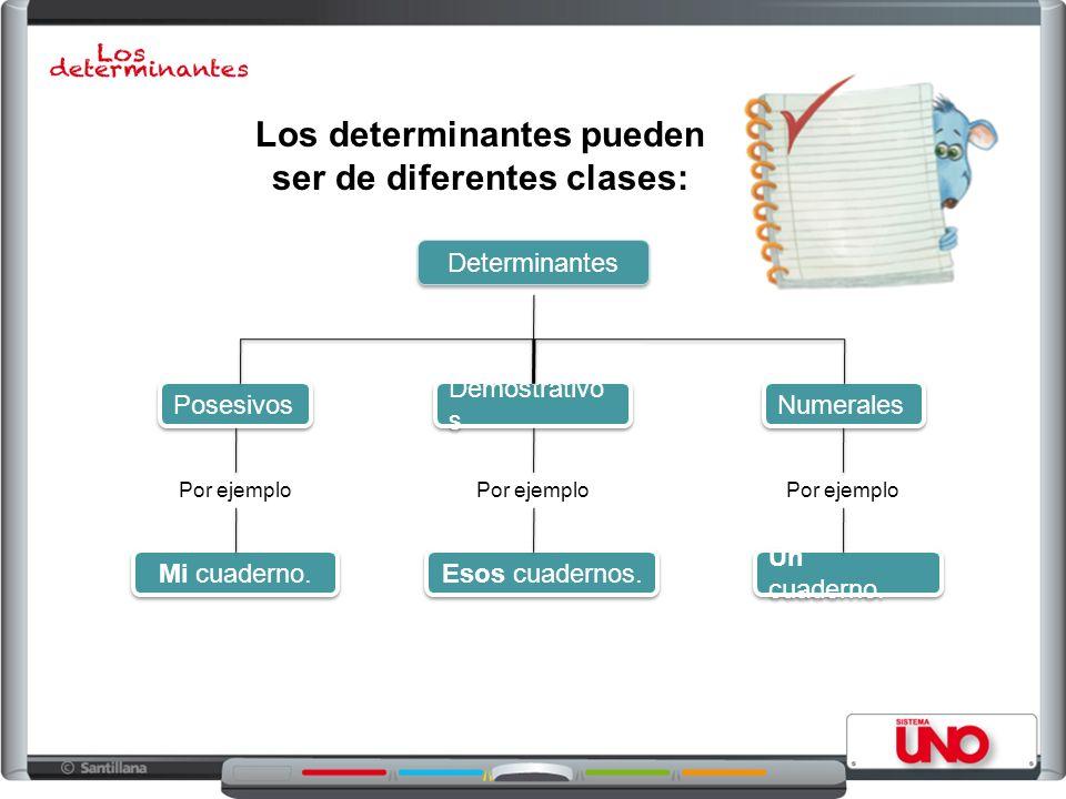 Determinantes Posesivos Demostrativo s Numerales Un cuaderno. Esos cuadernos. Mi cuaderno. Los determinantes pueden ser de diferentes clases: Por ejem
