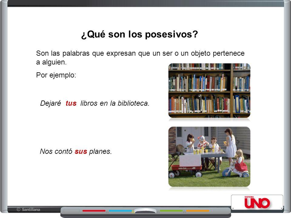 ¿Qué son los posesivos? Son las palabras que expresan que un ser o un objeto pertenece a alguien. Por ejemplo: Dejaré tus libros en la biblioteca. Nos
