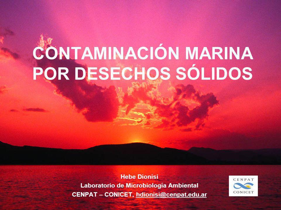 CONTAMINACIÓN MARINA POR DESECHOS SÓLIDOS Hebe Dionisi Laboratorio de Microbiología Ambiental CENPAT – CONICET, hdionisi@cenpat.edu.ar