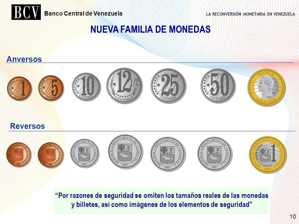 LA RECONVERSIÓN MONETARIA EN VENEZUELA Banco Central de Venezuela 10 Anversos Reversos NUEVA FAMILIA DE MONEDAS Por razones de seguridad se omiten los