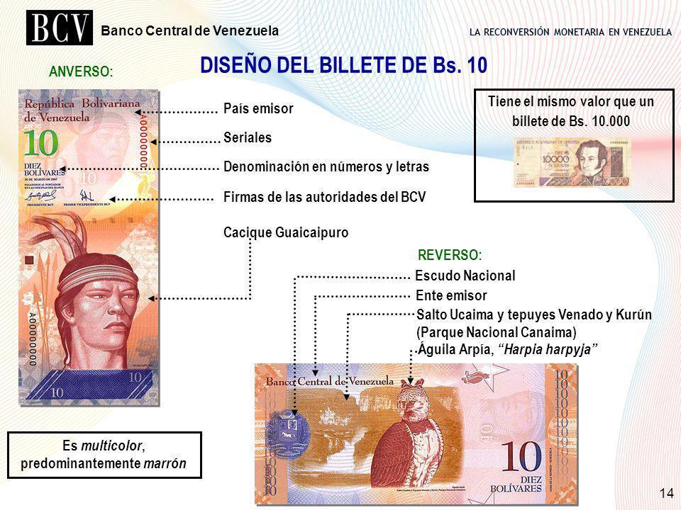 LA RECONVERSIÓN MONETARIA EN VENEZUELA Banco Central de Venezuela 14 DISEÑO DEL BILLETE DE Bs. 10 País emisor Seriales Denominación en números y letra