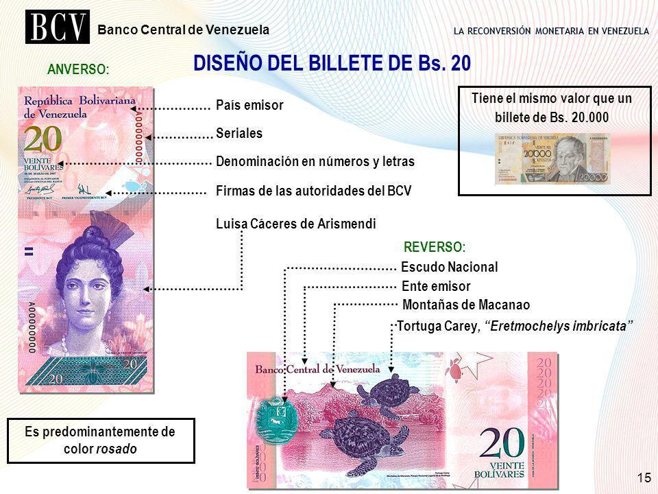 LA RECONVERSIÓN MONETARIA EN VENEZUELA Banco Central de Venezuela 15 DISEÑO DEL BILLETE DE Bs. 20 País emisor Seriales Denominación en números y letra