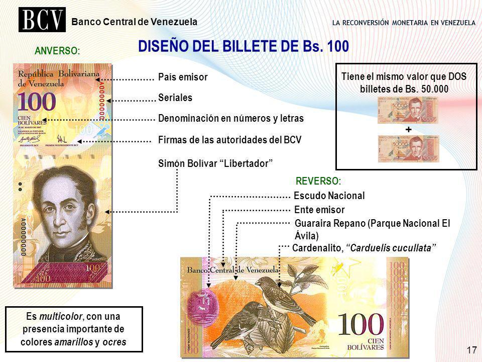 LA RECONVERSIÓN MONETARIA EN VENEZUELA Banco Central de Venezuela 17 DISEÑO DEL BILLETE DE Bs. 100 País emisor Seriales Denominación en números y letr