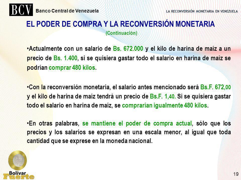 LA RECONVERSIÓN MONETARIA EN VENEZUELA Banco Central de Venezuela 19 EL PODER DE COMPRA Y LA RECONVERSIÓN MONETARIA (Continuación) Actualmente con un