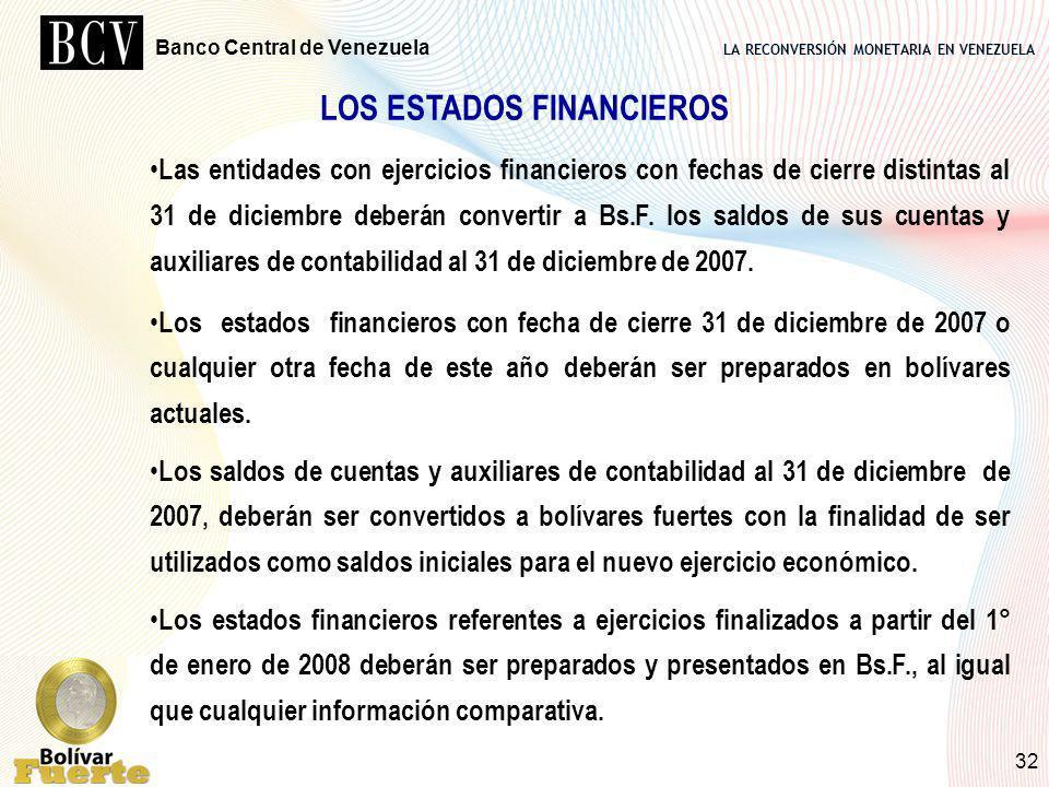 LA RECONVERSIÓN MONETARIA EN VENEZUELA Banco Central de Venezuela 32 LOS ESTADOS FINANCIEROS Las entidades con ejercicios financieros con fechas de ci