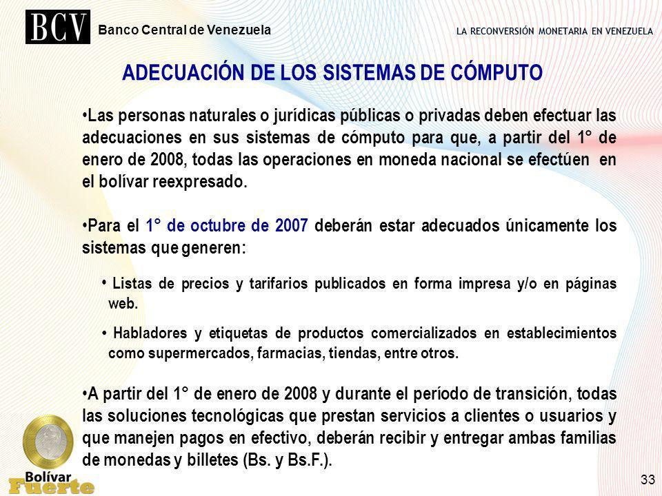 LA RECONVERSIÓN MONETARIA EN VENEZUELA Banco Central de Venezuela 33 Las personas naturales o jurídicas públicas o privadas deben efectuar las adecuac