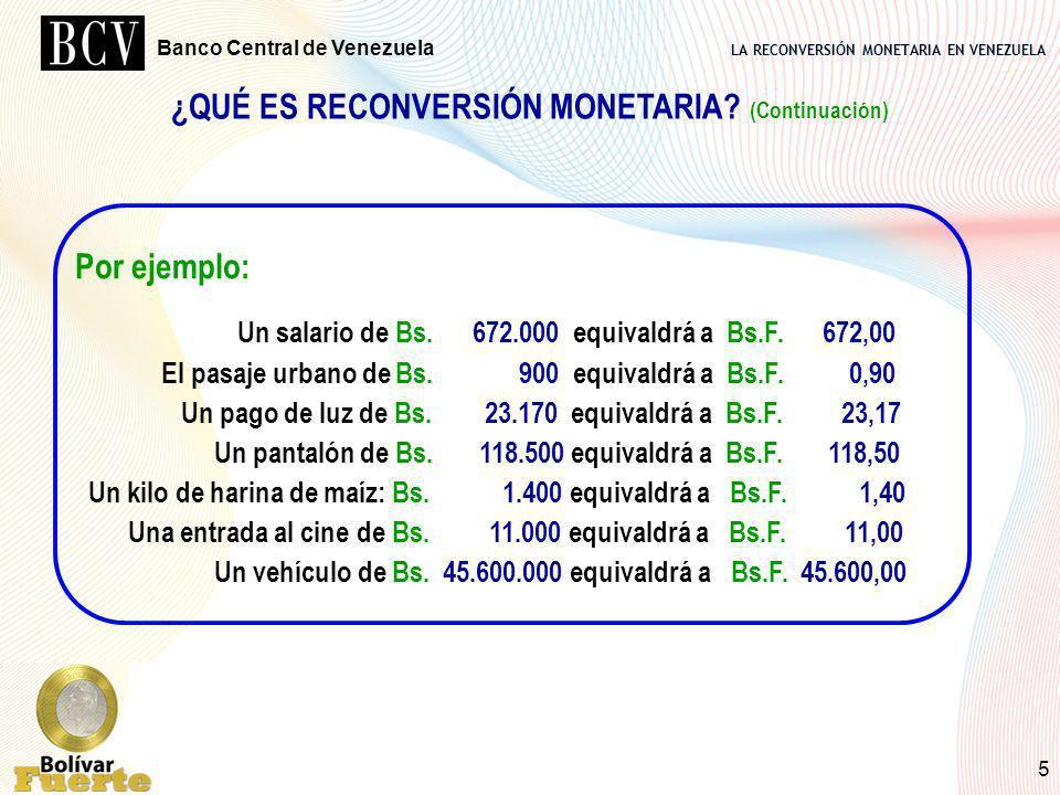 LA RECONVERSIÓN MONETARIA EN VENEZUELA Banco Central de Venezuela 5 ¿QUÉ ES RECONVERSIÓN MONETARIA? (Continuación) Por ejemplo: Un salario de Bs. 672.