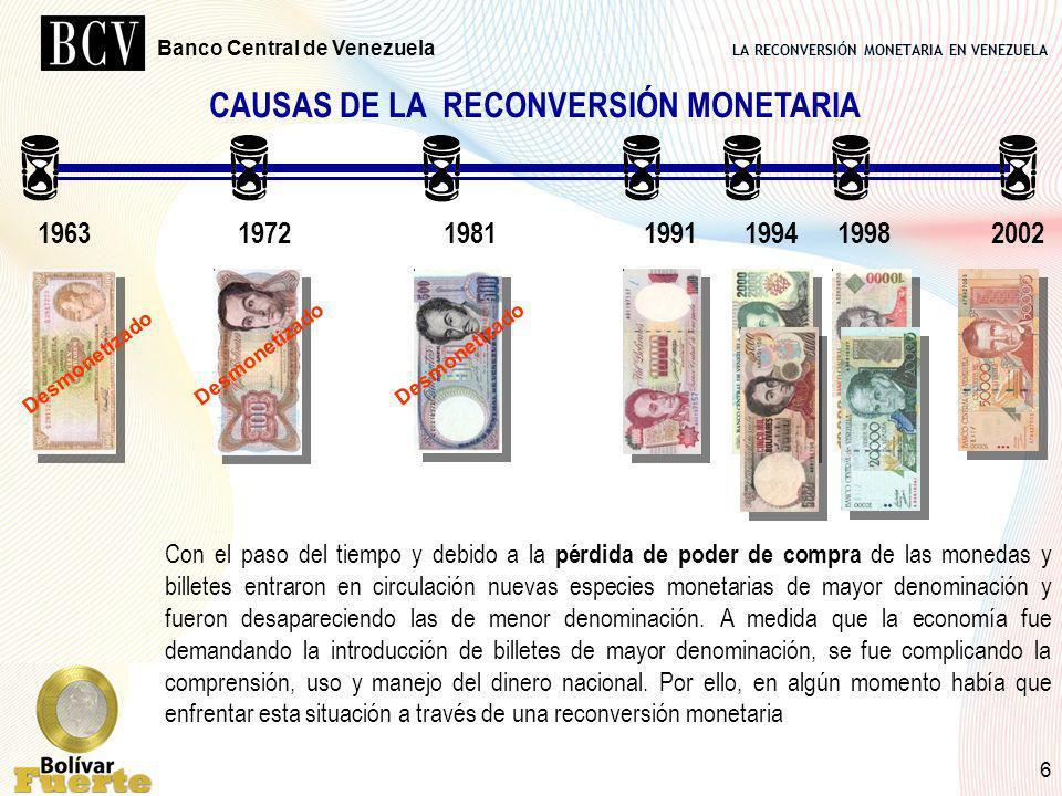 LA RECONVERSIÓN MONETARIA EN VENEZUELA Banco Central de Venezuela 6 CAUSAS DE LA RECONVERSIÓN MONETARIA 1963 1972 1981 1991 1994 1998 2002 Con el paso