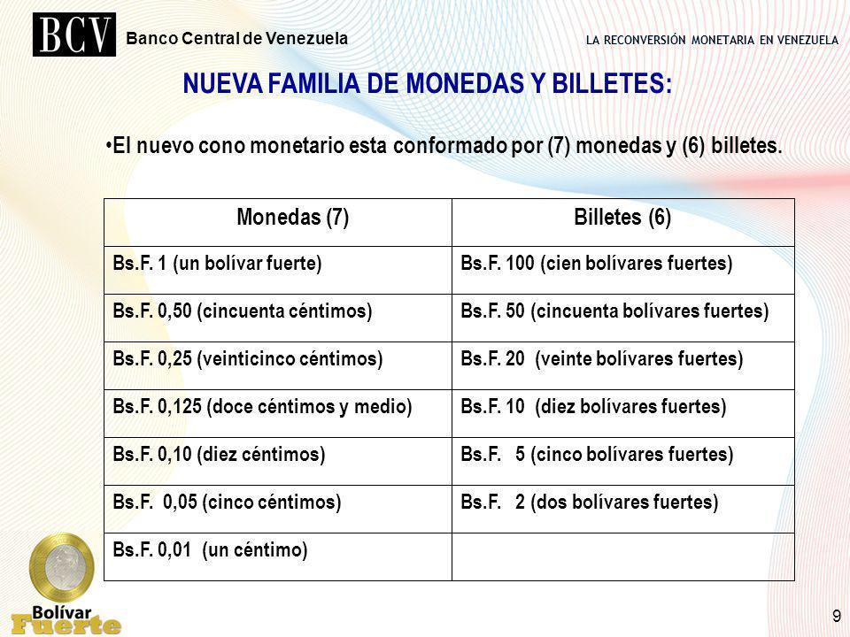 LA RECONVERSIÓN MONETARIA EN VENEZUELA Banco Central de Venezuela 9 NUEVA FAMILIA DE MONEDAS Y BILLETES: Bs.F. 0,01 (un céntimo) Bs.F. 2 (dos bolívare