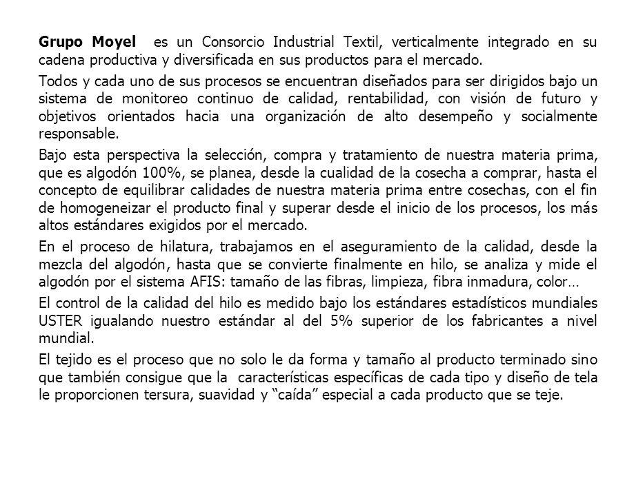 Grupo Moyel es un Consorcio Industrial Textil, verticalmente integrado en su cadena productiva y diversificada en sus productos para el mercado. Todos