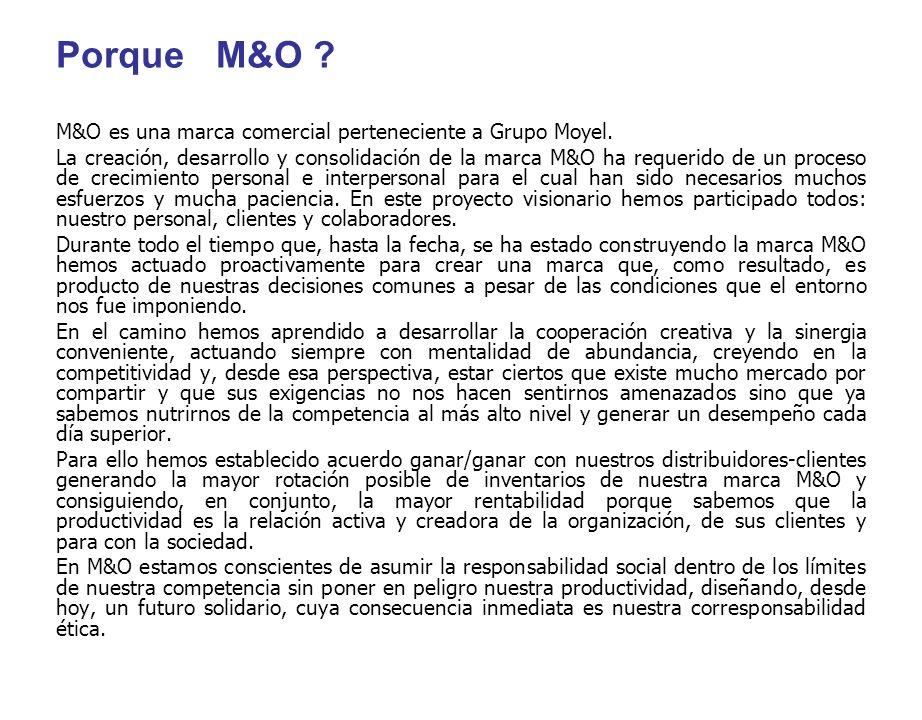 Porque M&O ? M&O es una marca comercial perteneciente a Grupo Moyel. La creación, desarrollo y consolidación de la marca M&O ha requerido de un proces