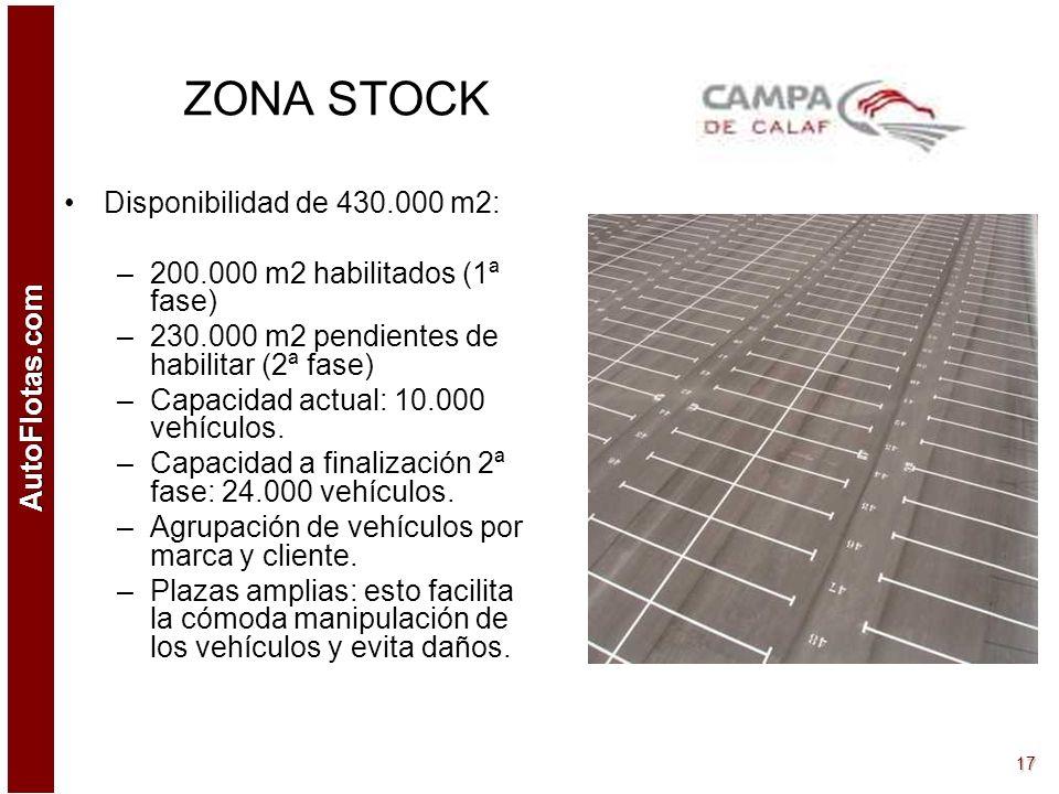 AutoFlotas.com 16 ZONA RECEPCIÓN VEHÍCULOS CAMPA DE CALAF dispone de una zona de carga/descarga de 15.000 m2 que comprende: –Recepción control Oficina