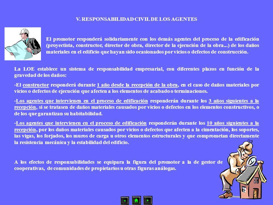 V. RESPONSABILIDAD CIVIL DE LOS AGENTES La LOE establece un sistema de responsabilidad empresarial, con diferentes plazos en función de la gravedad de