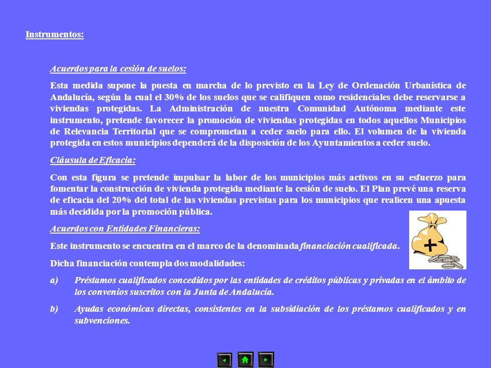 Instrumentos: Acuerdos para la cesión de suelos: Esta medida supone la puesta en marcha de lo previsto en la Ley de Ordenación Urbanística de Andalucí