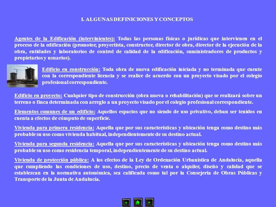 I. ALGUNAS DEFINICIONES Y CONCEPTOS Agentes de la Edificación (intervinientes): Todas las personas físicas o jurídicas que intervienen en el proceso d