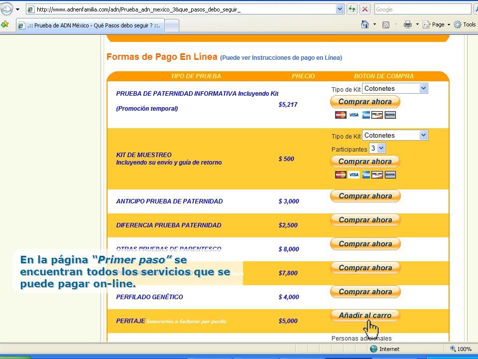 En la página Primer paso se encuentran todos los servicios que se puede pagar on-line.