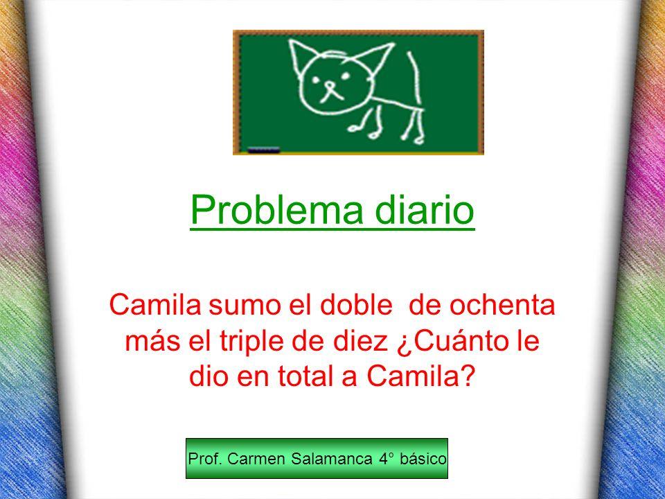 Problema diario Camila sumo el doble de ochenta más el triple de diez ¿Cuánto le dio en total a Camila? Prof. Carmen Salamanca 4° básico