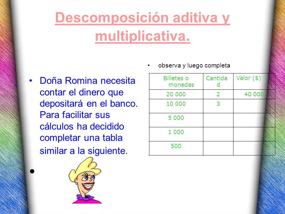 Descomposición aditiva y multiplicativa. Doña Romina necesita contar el dinero que depositará en el banco. Para facilitar sus cálculos ha decidido com
