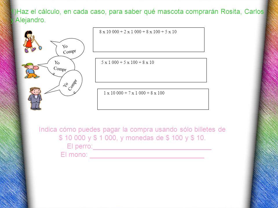 1)Haz el cálculo, en cada caso, para saber qué mascota comprarán Rosita, Carlos y Alejandro. Yo Compr e Yo Compr e Yo Compr e 8 x 10 000 + 2 x 1 000 +