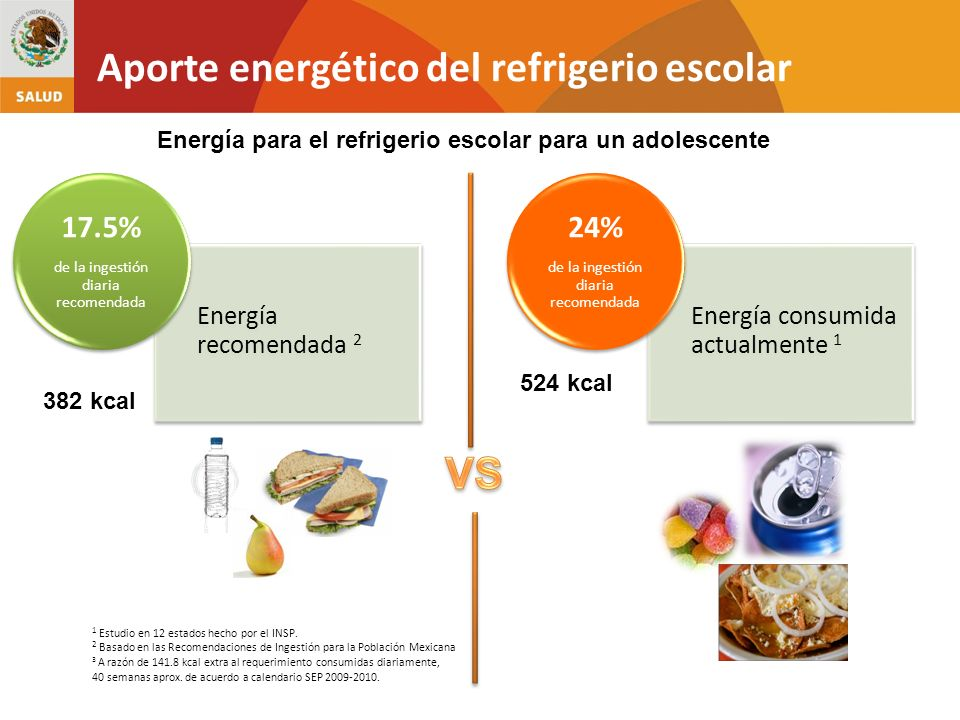 Energía consumida actualmente 1 24% de la ingestión diaria recomendada Energía recomendada 2 17.5% de la ingestión diaria recomendada 1 Estudio en 12