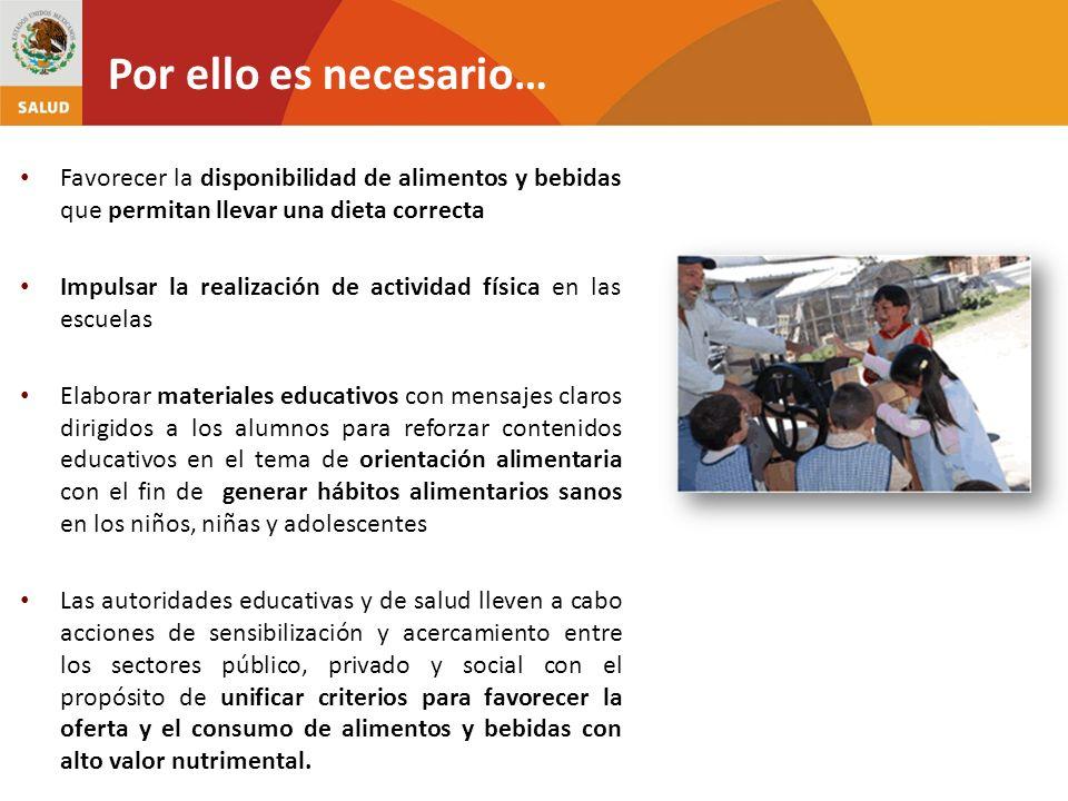 Favorecer la disponibilidad de alimentos y bebidas que permitan llevar una dieta correcta Impulsar la realización de actividad física en las escuelas