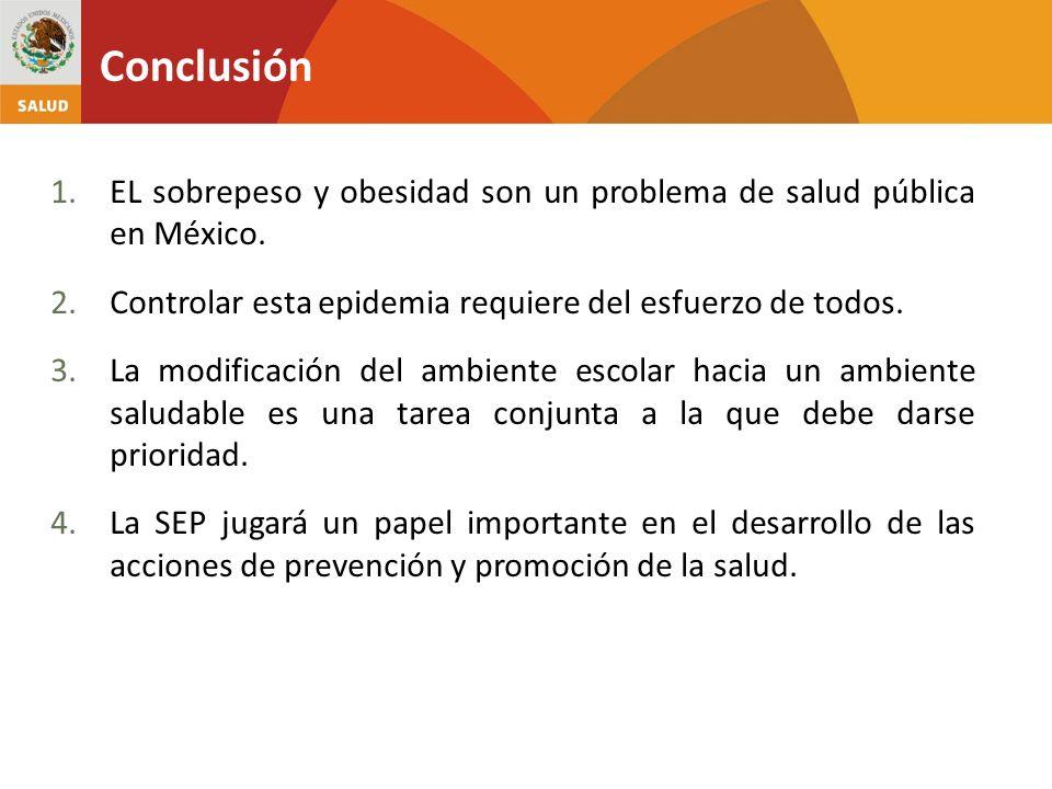 Conclusión 1.EL sobrepeso y obesidad son un problema de salud pública en México. 2.Controlar esta epidemia requiere del esfuerzo de todos. 3.La modifi