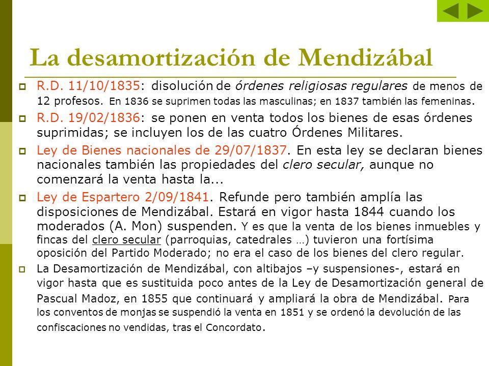 La desamortización de Mendizábal R.D. 11/10/1835: disolución de órdenes religiosas regulares de menos de 12 profesos. En 1836 se suprimen todas las ma