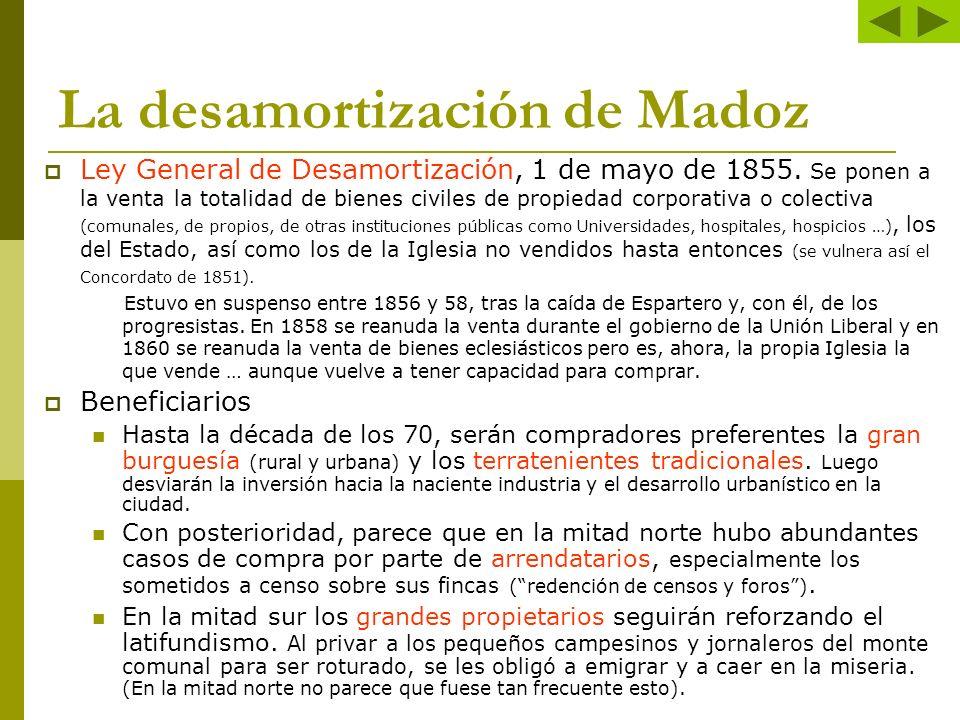 La desamortización de Madoz Ley General de Desamortización, 1 de mayo de 1855. Se ponen a la venta la totalidad de bienes civiles de propiedad corpora