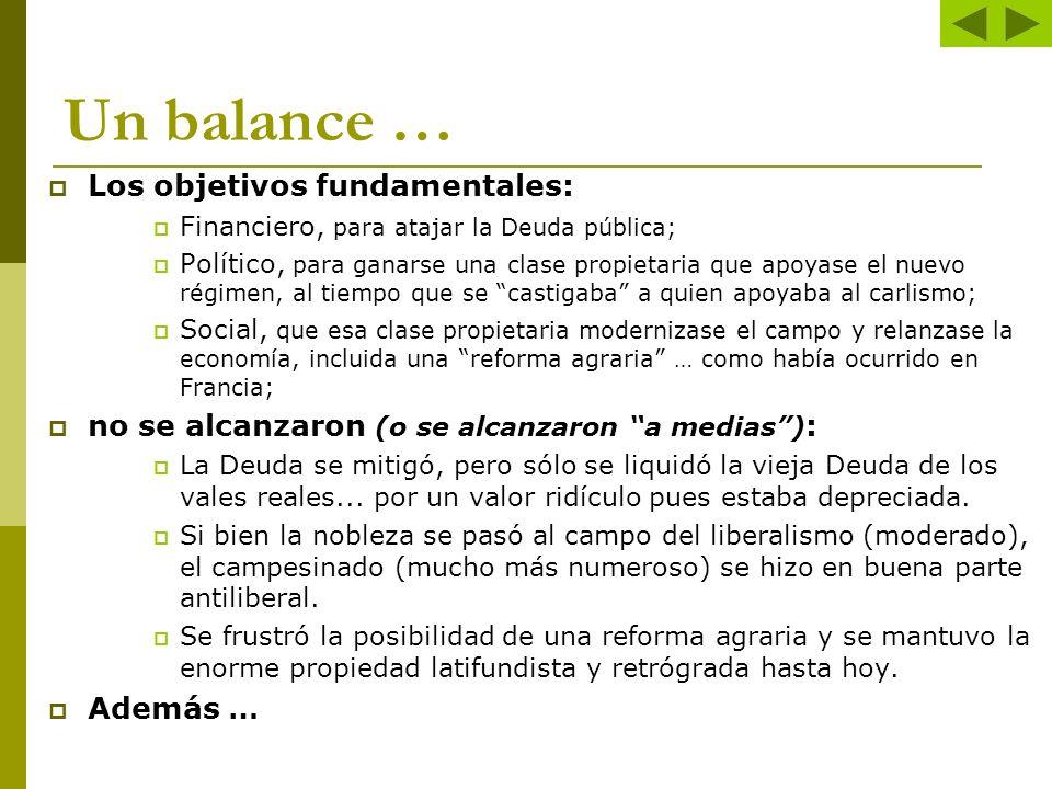 Un balance … Los objetivos fundamentales: Financiero, para atajar la Deuda pública; Político, para ganarse una clase propietaria que apoyase el nuevo