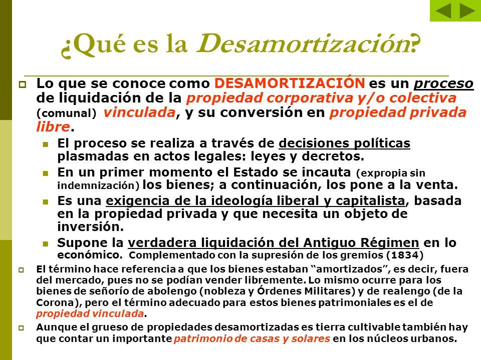 Otros aspectos relacionados (porque atentan también contra el Antiguo Régimen) … La DESVINCULACIÓN es romper el vínculo de la propiedad con el linaje o la corporación que la detenta.