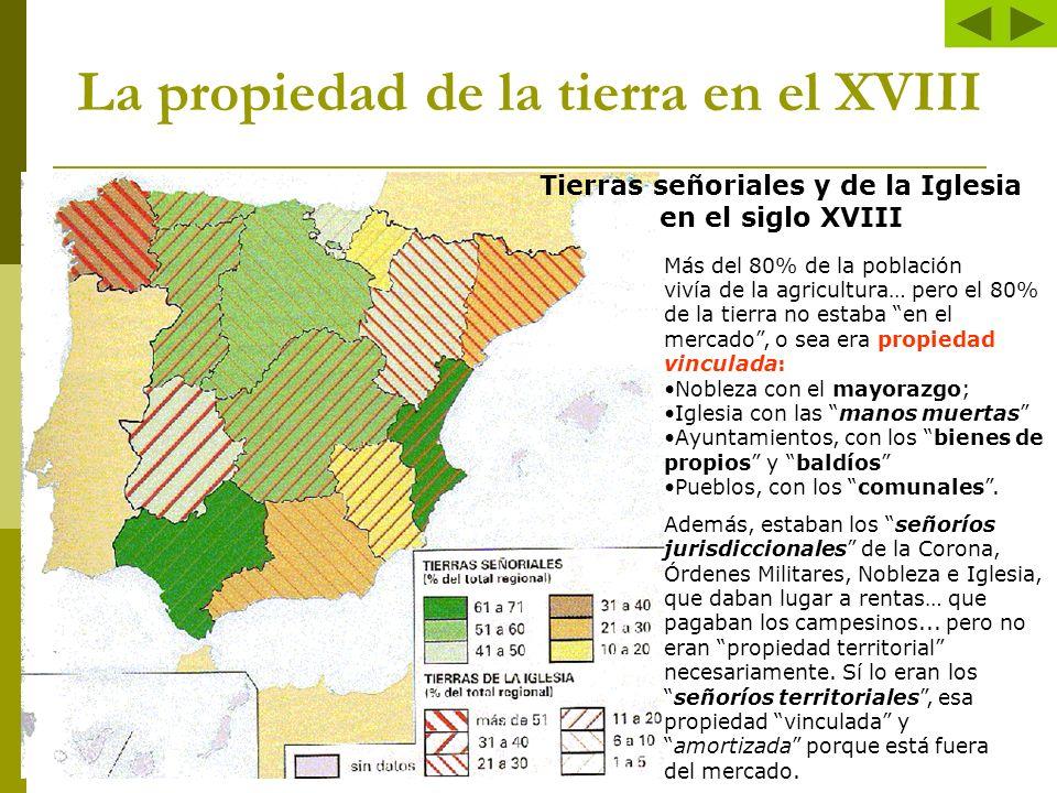 La propiedad de la tierra en el XVIII Más del 80% de la población vivía de la agricultura… pero el 80% de la tierra no estaba en el mercado, o sea era