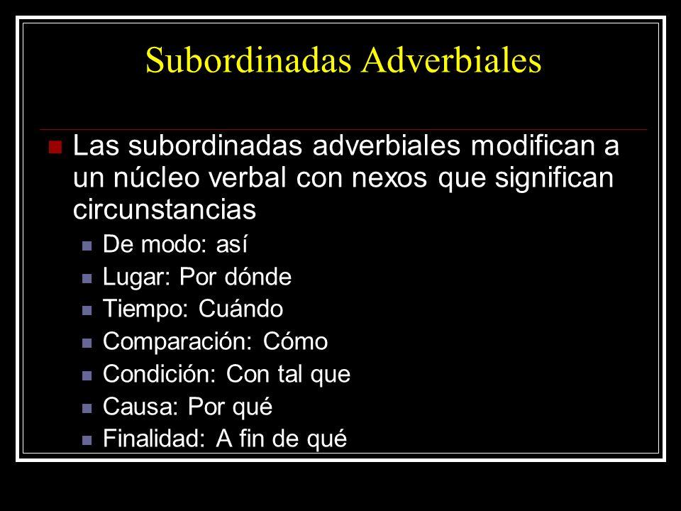 Subordinadas Adverbiales Las subordinadas adverbiales modifican a un núcleo verbal con nexos que significan circunstancias De modo: así Lugar: Por dón