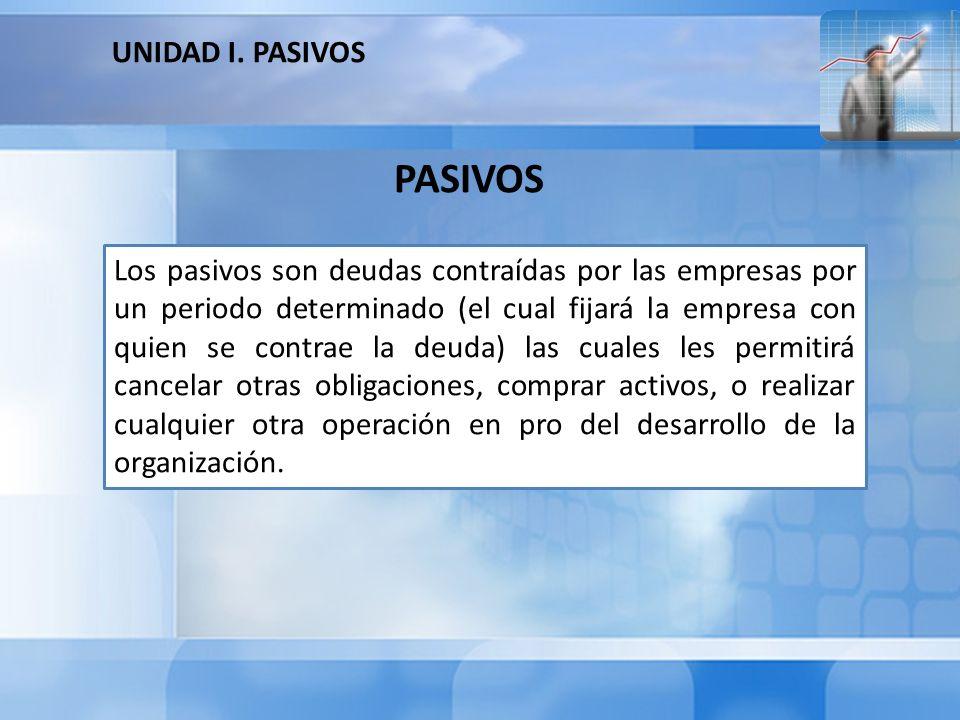 Los pasivos a objeto de diferenciarlos de cualquier otro tipo de cuentas, deben poseer un conjunto cualidades las cuales son: PASIVOS Se clasifican dependiendo de su vencimiento.