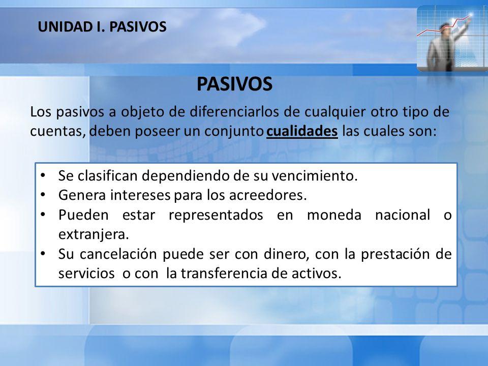 Los pasivos a objeto de diferenciarlos de cualquier otro tipo de cuentas, deben poseer un conjunto cualidades las cuales son: PASIVOS Se clasifican de