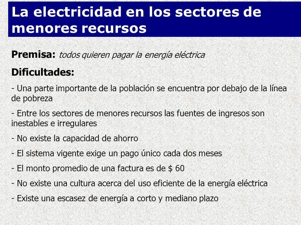 Premisa: todos quieren pagar la energía eléctrica Dificultades: - Una parte importante de la población se encuentra por debajo de la línea de pobreza - Entre los sectores de menores recursos las fuentes de ingresos son inestables e irregulares - No existe la capacidad de ahorro - El sistema vigente exige un pago único cada dos meses - El monto promedio de una factura es de $ 60 - No existe una cultura acerca del uso eficiente de la energía eléctrica - Existe una escasez de energía a corto y mediano plazo La electricidad en los sectores de menores recursos