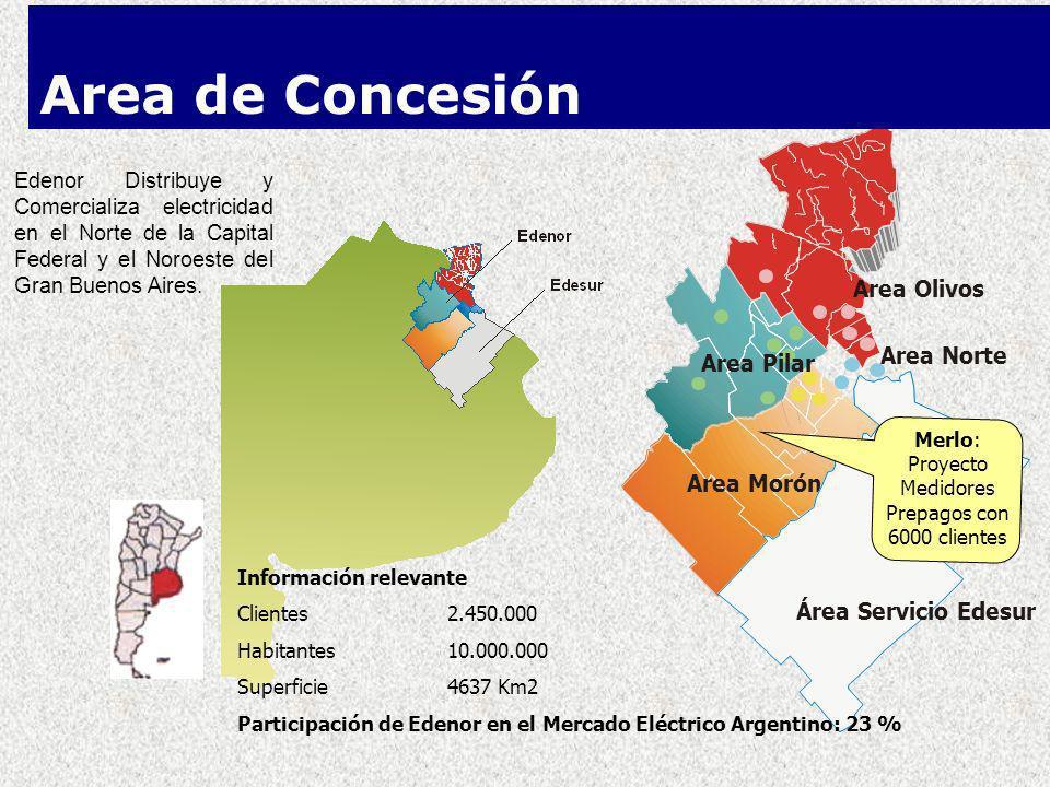Area Olivos Area Pilar Area Morón Area Norte Área Servicio Edesur Edenor Distribuye y Comercializa electricidad en el Norte de la Capital Federal y el Noroeste del Gran Buenos Aires.