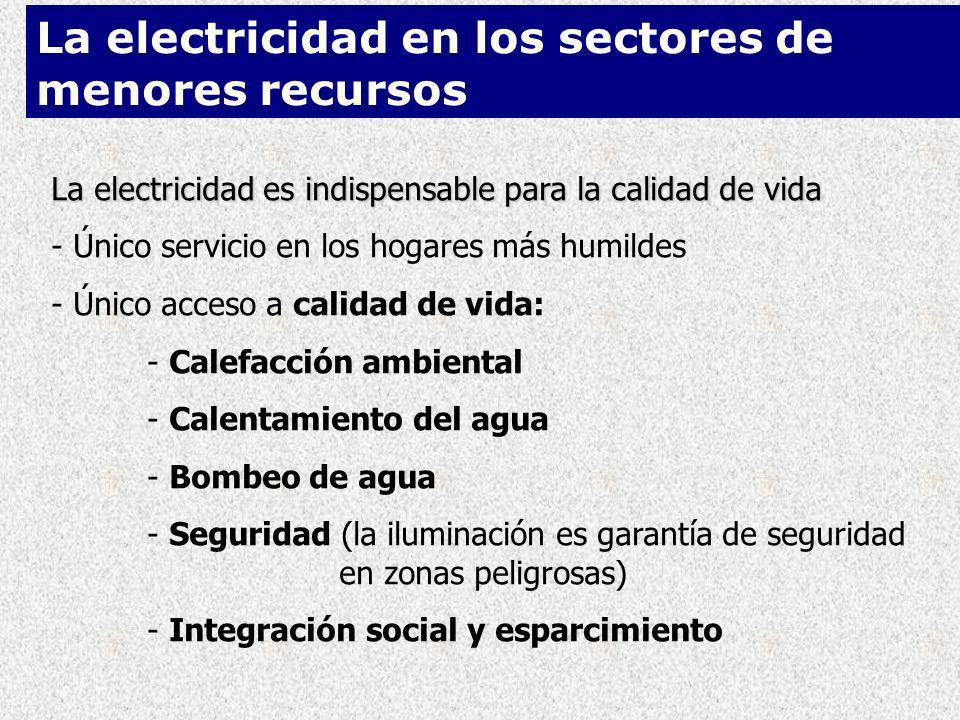 La electricidad es indispensable para la calidad de vida - Único servicio en los hogares más humildes - Único acceso a calidad de vida: - Calefacción ambiental - Calentamiento del agua - Bombeo de agua - Seguridad (la iluminación es garantía de seguridad en zonas peligrosas) - Integración social y esparcimiento La electricidad en los sectores de menores recursos