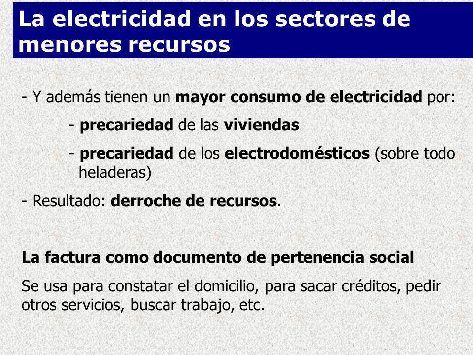 - Y además tienen un mayor consumo de electricidad por: - precariedad de las viviendas - precariedad de los electrodomésticos (sobre todo heladeras) - Resultado: derroche de recursos.