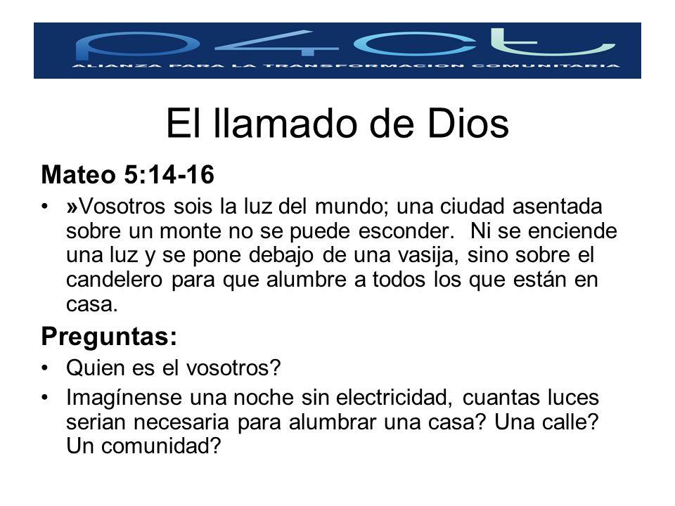 Mateo 5:14-16 »Vosotros sois la luz del mundo; una ciudad asentada sobre un monte no se puede esconder. Ni se enciende una luz y se pone debajo de una