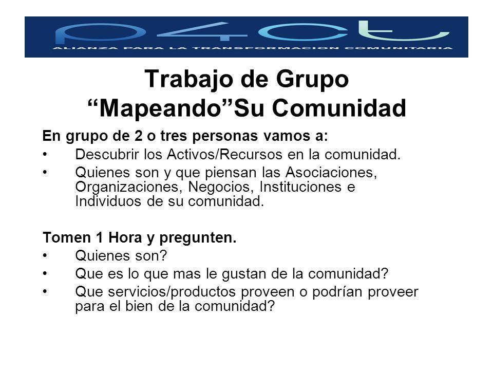 Trabajo de Grupo MapeandoSu Comunidad En grupo de 2 o tres personas vamos a: Descubrir los Activos/Recursos en la comunidad. Quienes son y que piensan