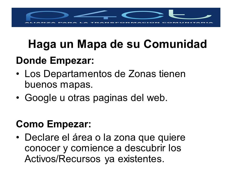 Haga un Mapa de su Comunidad Donde Empezar: Los Departamentos de Zonas tienen buenos mapas. Google u otras paginas del web. Como Empezar: Declare el á